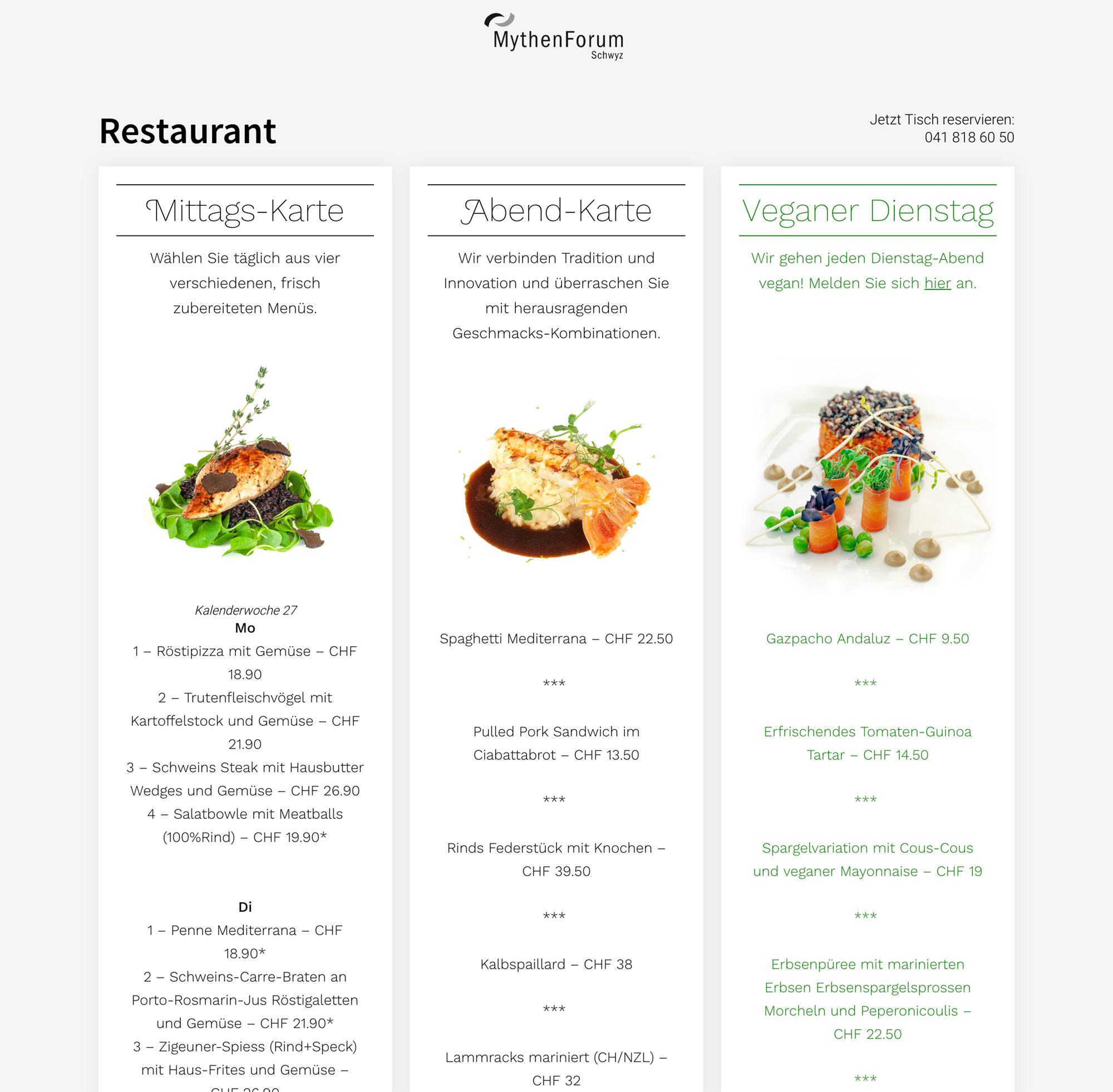 Dynamische Speisekarten