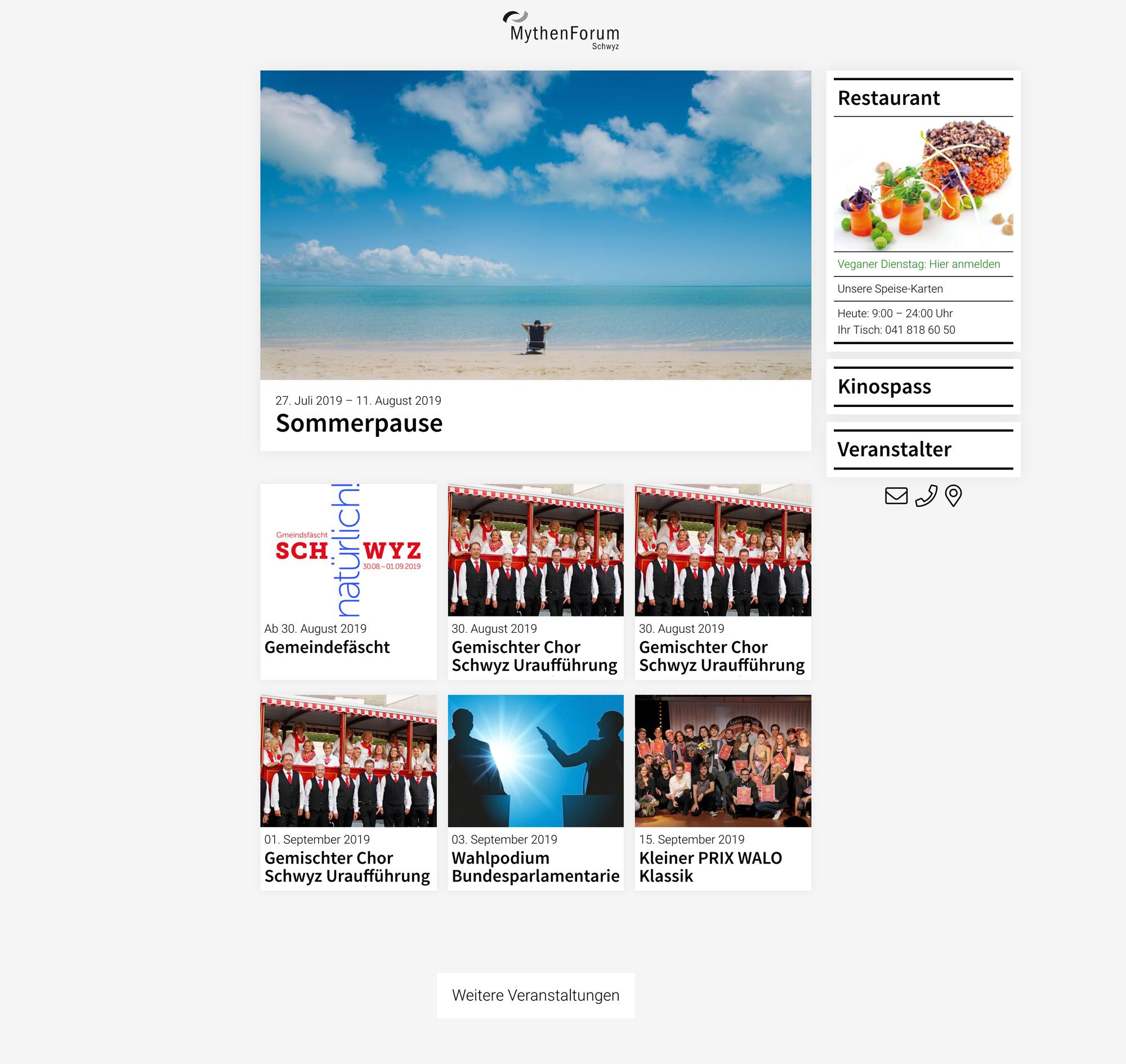 Startseite der Webpräsenz MythenForum